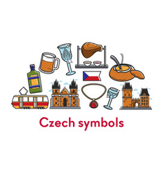 czech republic symbols architecture food and drink vector image