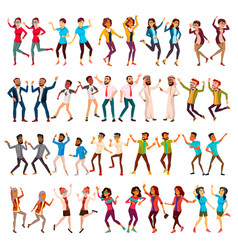 dancing people set celebrating dances vector image