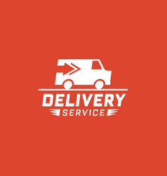 Delivery service with truck van on red background vector