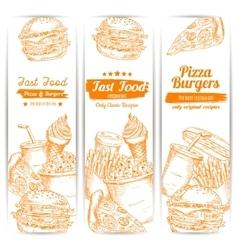 Fast food snacks sketch banners set vector image