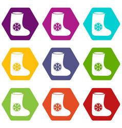 Felt boots icon set color hexahedron vector