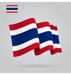 Flat and waving Thai Flag vector