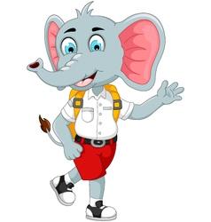 Funny male elephant cartoon go to school vector