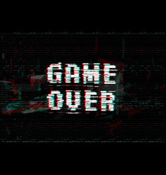 game over screen message vector image