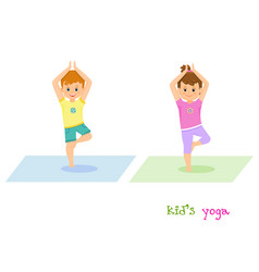 Girl and boy do yoga together vector