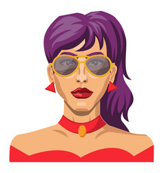 girl with purple hair and glasses on white vector image