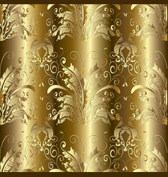 gold 3d baroque damask seamless pattern vector image