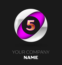 golden number four logo in silver-purple circle vector image