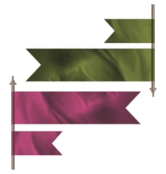 Green and pink silk flags vector