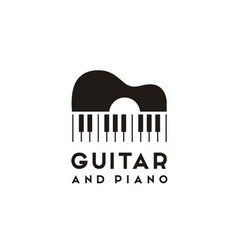 guitar strings and piano key music instrument logo vector image