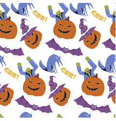 halloween seamless pattern holiday design vector image
