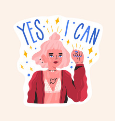Hand drawn feminist composition with motivation vector