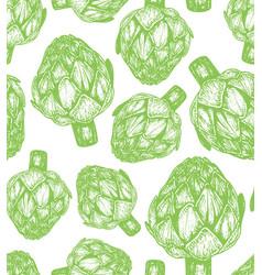 Hand drawn of artichoke sketch vector