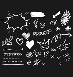 hand drawn set elements white on black vector image
