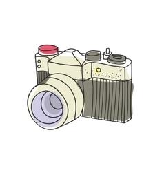 Hand drawn vintage camera vector