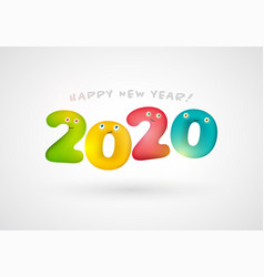 happy new 2020 year design with colorful numbers vector image