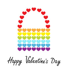 happy valentines day rainbow flag bag icon heart vector image