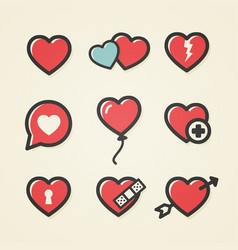 Heart icon set for valentines day and wedding vector