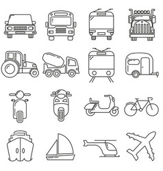 icons in style lines on theme modes vector image
