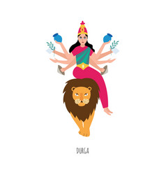 Indian goddess durga cartoon character on lion vector