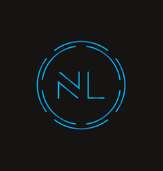 initial letter nl logo design template digital vector image