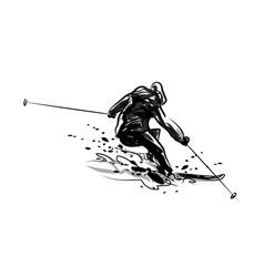 ink sketch skier vector image