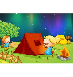 Kids near fire vector