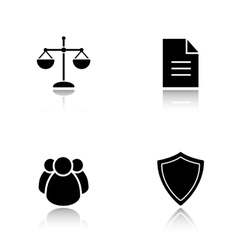 Lawyer drop shadow icons set vector