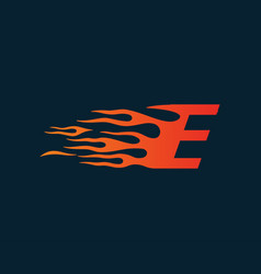 Letter e flame logo speed logo design concept vector