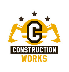 Logo construction work letter in the vector