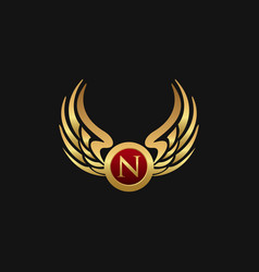 Luxury letter n emblem wings logo design concept vector
