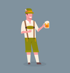 Man hold beer mug wearing traditional german vector