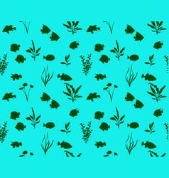 Marine fish silhouette vector