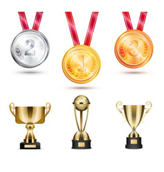 medals and trophies collection vector image