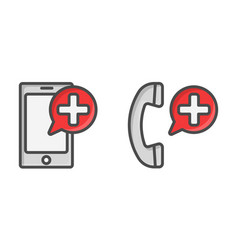 Medical cell phone icons call button for vector