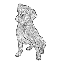 Monochrome hand drawn zentagle of boxer dog vector