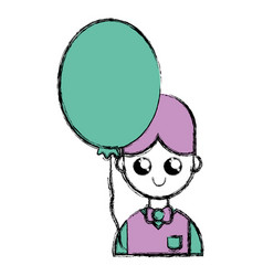 nice boy with uniform clothes and balloon vector image