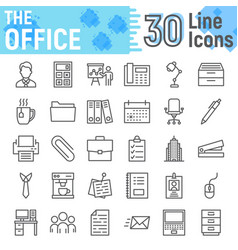 office line icon set business symbols collection vector image