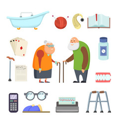 old couple with assistants tools vector image