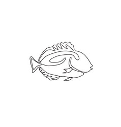 One continuous line drawing cute blue tang vector