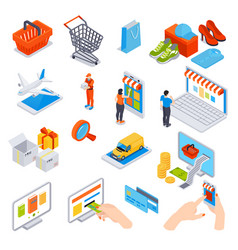 Online shopping isometric set vector