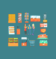 people shopping for groceries in supermarket vector image