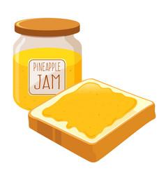 Pineapple jam spread on a bread vector