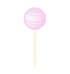 Pink sweet bubble round candy - lollipop isolated vector
