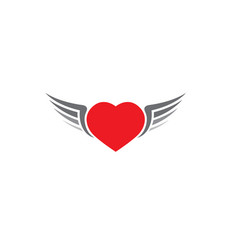 red heart with open wings icon on white vector image