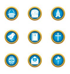 religious signage icons set flat style vector image