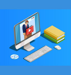 remote learning workspace composition vector image