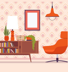 Retro interior with chair frames for copyspace vector