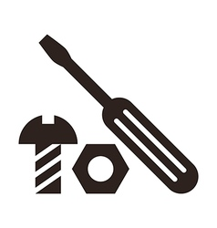 Screwdriver nut and bolt icon vector image