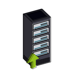 Servers with upload arrow web hosting icon image vector
